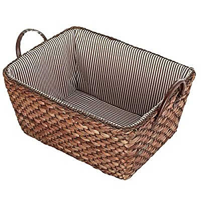 MyGift Woven Corn Leaf Basket, Fabric Lined Double Handle Storage Bin, Brown - A woven storage basket made of brown corn leaves and featuring a striped fabric interior. Features 2 sturdy top handles made of leatherette. Perfect for storing and organizing towels, toys, clothing, magazines, books, and more. - living-room-decor, living-room, baskets-storage - 61IVvCUgSgL. SS400  -