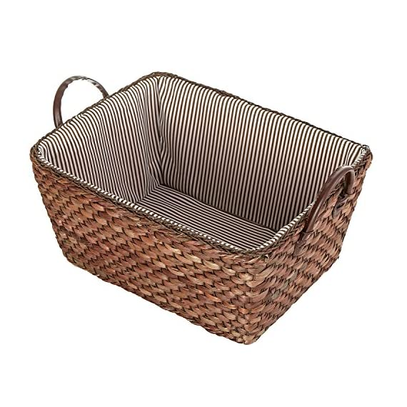 MyGift Woven Corn Leaf Basket, Fabric Lined Double Handle Storage Bin, Brown - A woven storage basket made of brown corn leaves and featuring a striped fabric interior. Features 2 sturdy top handles made of leatherette. Perfect for storing and organizing towels, toys, clothing, magazines, books, and more. - living-room-decor, living-room, baskets-storage - 61IVvCUgSgL. SS570  -
