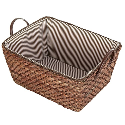 MyGift Woven Corn Leaf Basket, Fabric Lined Double Handle Storage Bin, Brown