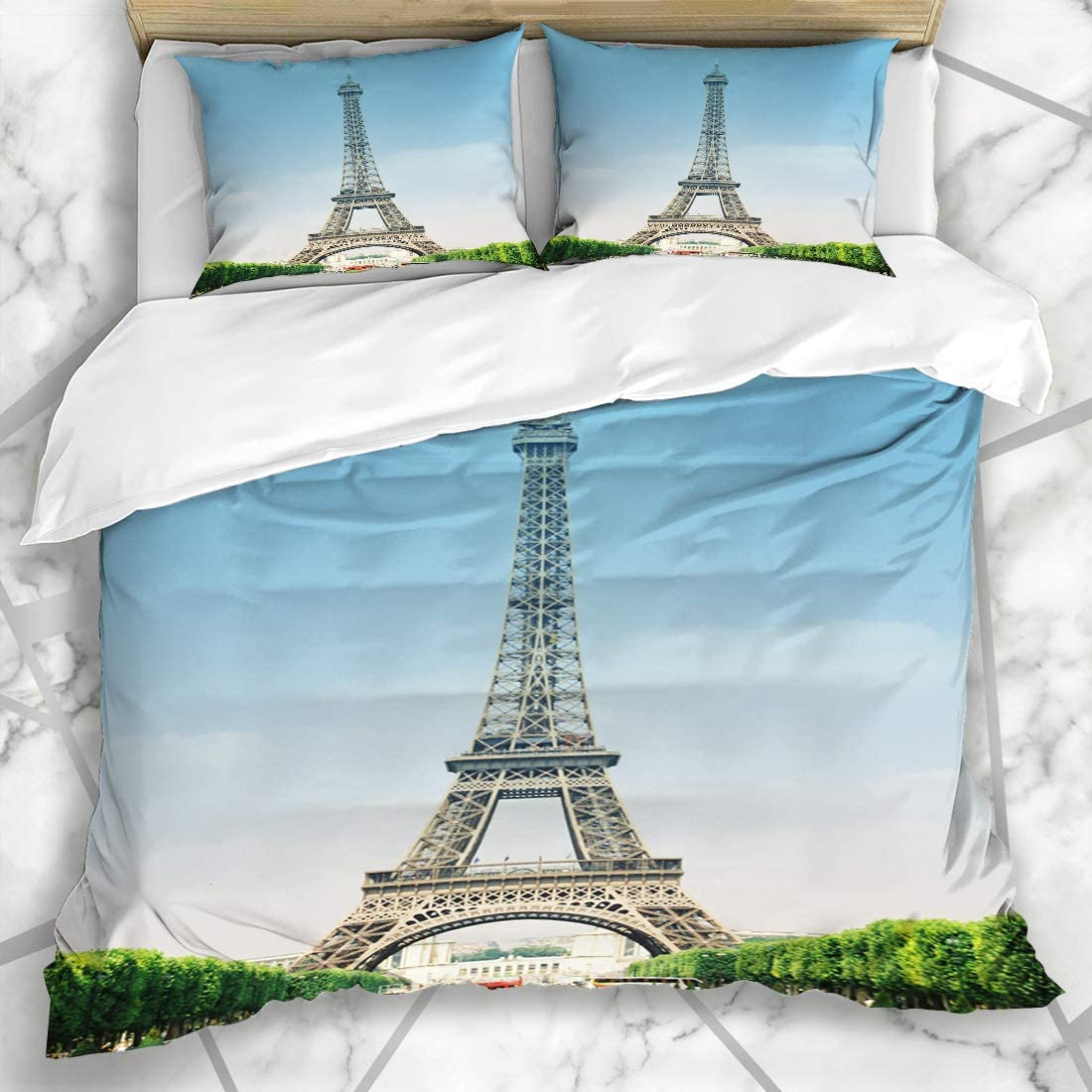 Ahawoso Duvet Cover Sets Queen/Full 90x90 Eiffel Tower Vertical City Clear Sky Tourism South Europe Symbol Transportation France Landmarks Soft Microfiber Decorative Bedroom with 2 Pillow Shams