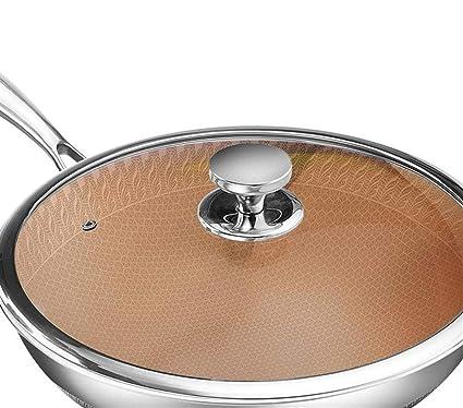 Amazon.com: Wok, 304 wok de acero inoxidable de la sartén no ...