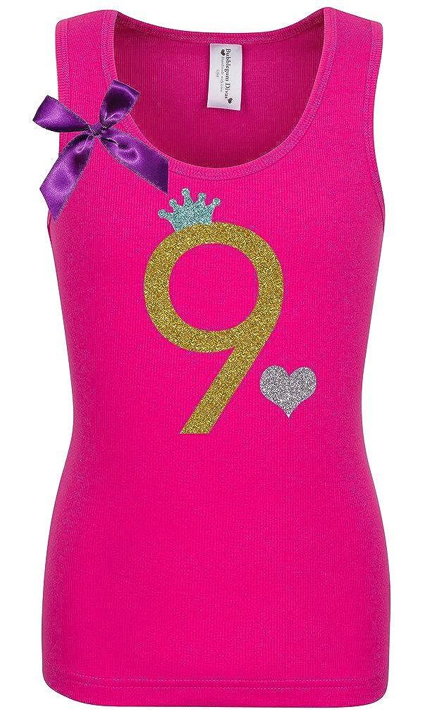 Bubblegum Divas Big Girls 9th Birthday Hot Pink Gold Princess Shirt