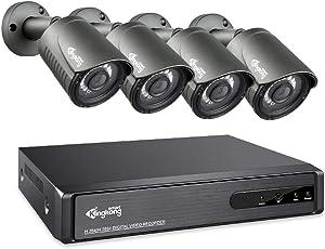 KingKongSmart 4CH 1080P Home Security Camera System, 2MP HD AHD Video DVR Recorder 4X 1920TVL CCTV Cameras System Outdoor, H.265+ IP67 Weatherproof, 98ft Night Vision, Motion Alert (Black)