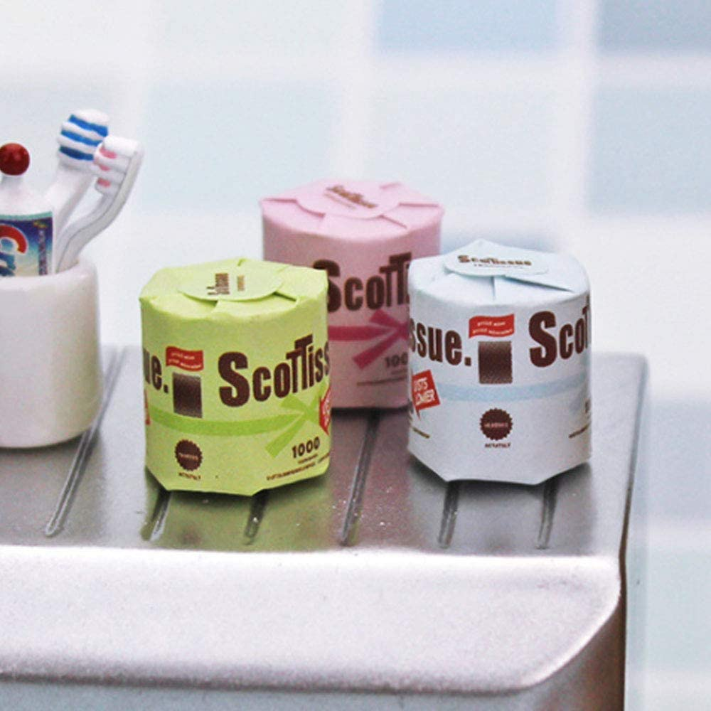 Wixine 2Set 6 Roll of Bathroom Tissue Toilet Paper 1:12 Dollhouse Miniature Accessory Toy
