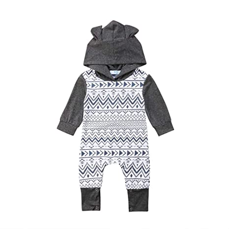 Newborn Infant Baby Girl Boy Bunny Zipped Hooded Romper Jumpsuit Playsuit Outfit