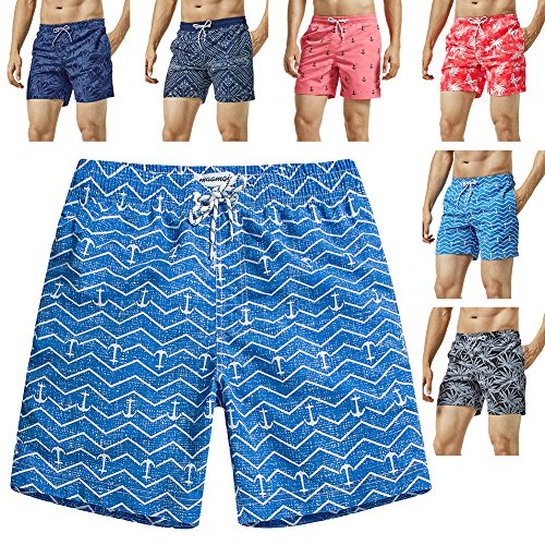 - MaaMgic Mens Quick Dry Anchor Swim Trunks with Mesh Lining Swimwear Bathing Suits,Blue-glm015,Large