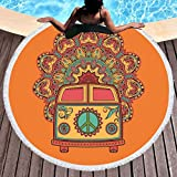 Sleepwish Hippy Beach Towel Peace Sign Blankets and Throws Circle Beach Towel With Fringe Orange Tablecloth Round Towels Oversized (Hippie Bus, 60'')