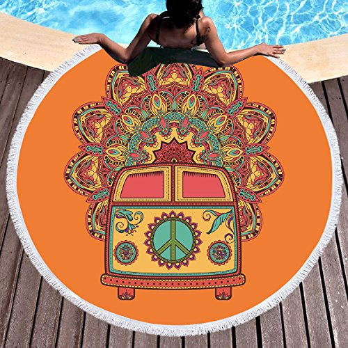 Sleepwish Hippy Beach Towel Peace Sign Blankets and Throws Circle Beach Towel with Fringe Orange Tablecloth Round Towels Oversized (Hippie Bus, ()