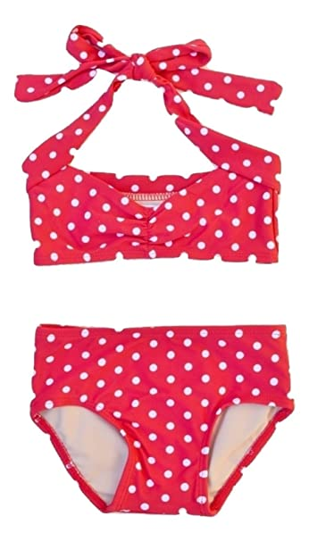 ca0c0a9aa6 Image Unavailable. Image not available for. Color: Red & white polka dot  retro baby bikini ...