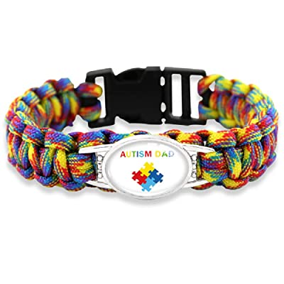The Electric Mammoth Autism Puzzle Pieces Awareness Paracord Bracelets (Dad): Jewelry