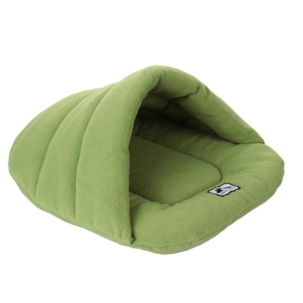 ueetek Igloo Caseta gato perro pequeño cojín cama saco de dormir para perro suave peluche algodón cálido verde: Amazon.es: Productos para mascotas