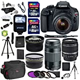 Canon EOS Rebel T5 18MP Digital SLR Camera, EF-S 18-55mm IS Lens, EF 75-300mm f/4-5.6 III, Polaroid .43x Wide Angle, 2.2X Telephoto Lenses, 40GB , Tripod, Filter Kit and Accessory Bundle