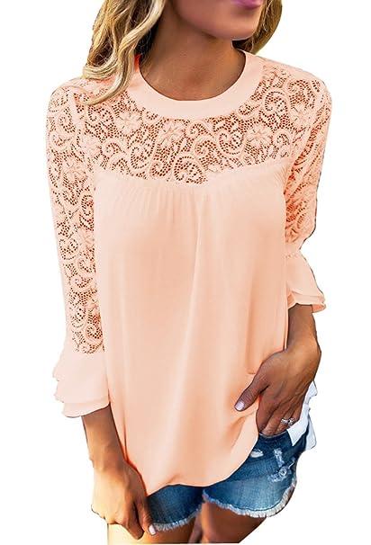 Mujer Casual Encaje de ganchillo Manga Larga Blusas T-Shirts Puntadas Cuello Redondo Tops Color Sólido Pulover: Amazon.es: Ropa y accesorios
