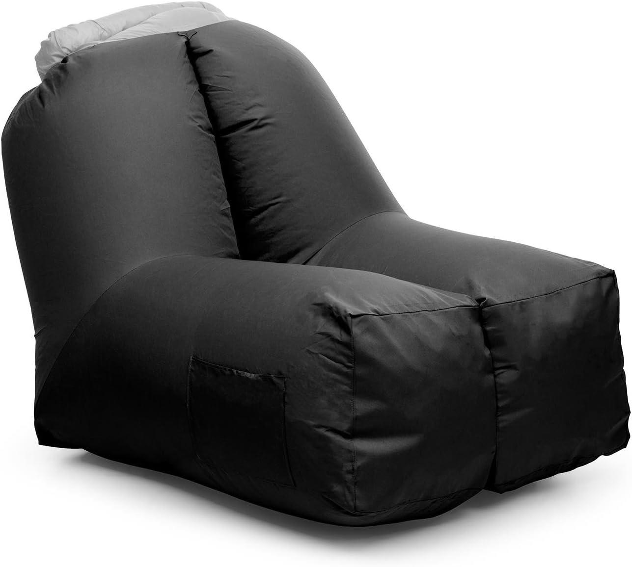 Blumfeldt Airchair - Sillón Inflable, Sillón Hinchable, Camping, Playa, Piscina, Viaje, Impermeable, Resistente, Cómodo, Dimensiones: 80x80x100cm, Negro
