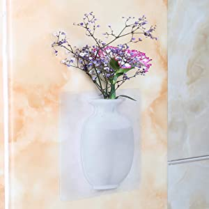 IronBuddy Silicone Flower Vase Samll Removable Self-Adhesive Wall Mount Vase for Wedding Festival Party Home Office Decoration