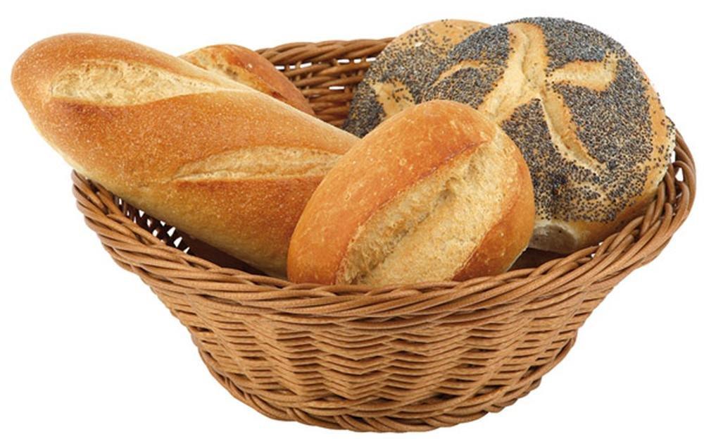 Paderno World Cuisine Large Round Polyrattan Bread Basket, 15-Inch
