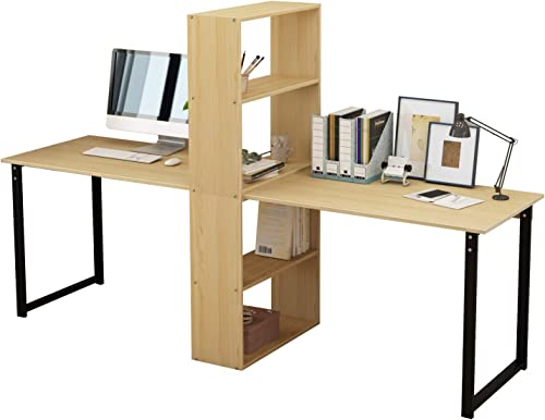 DlandHome Double Computer Desk 88 inches Extra Large 2-Person Home Office Desk