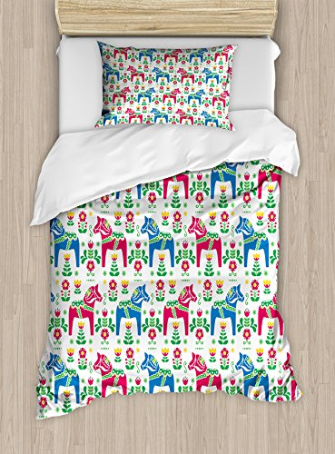 Ambesonne Horses Duvet Cover Set Twin Size, Classic Swedish Dalecarlian Coral Azure Blue Animals and Green Floral Arrangement, Decorative 2 Piece Bedding Set with 1 Pillow Sham, Multicolor (Quilt Azure)