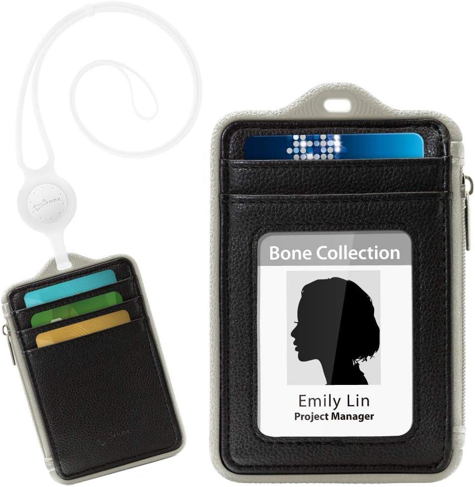 S/érie de Tour de Cou Porte Badge Noir//Blanc//Vert//Rouge//Bleu Attache Porte Badge Cuir PU Tour de Cou avec Fente Porte Portefeuille avec 5 Fentes de Cartes et Cordon de Cou en Silicone