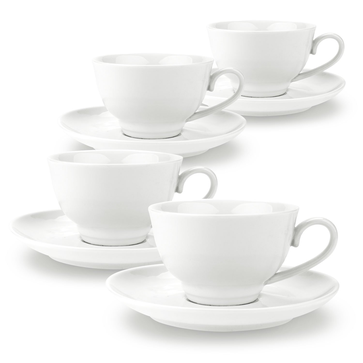 150ml China Porcelain Tea Cup and Saucer Set Coffee Cup Set with Saucer White Magnolia sets of 4