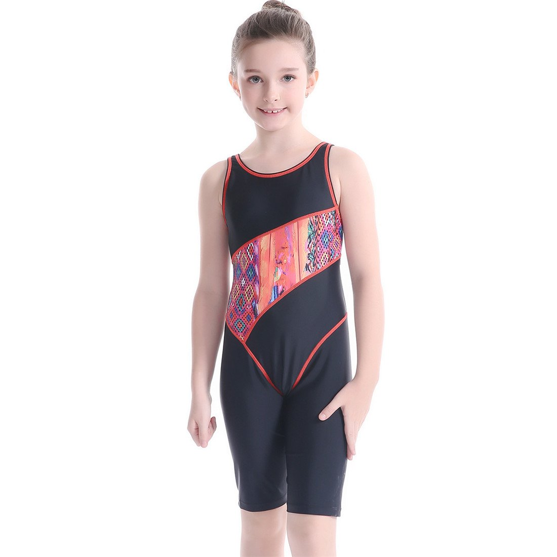 SANANG Girls' Splice Athletic Competitive Full Knee Length One Piece Swimsuit Swimwear Legsuit