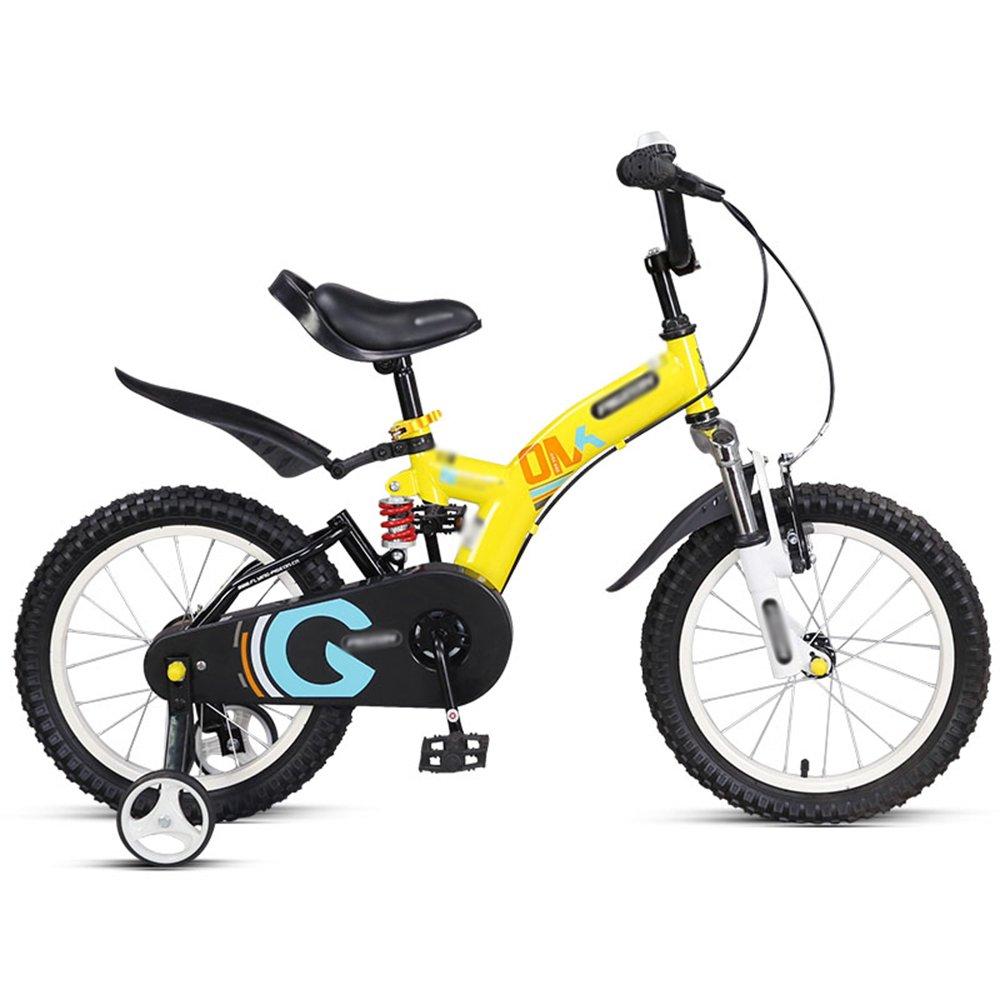 HAIZHEN マウンテンバイク 子供用自転車 トレーニングホイール付きの少年の自転車と少女の自転車 14インチ、16インチ アウトドアアウト 新生児 B07CCJX1B9 16 inch|イエロー いえろ゜ イエロー いえろ゜ 16 inch