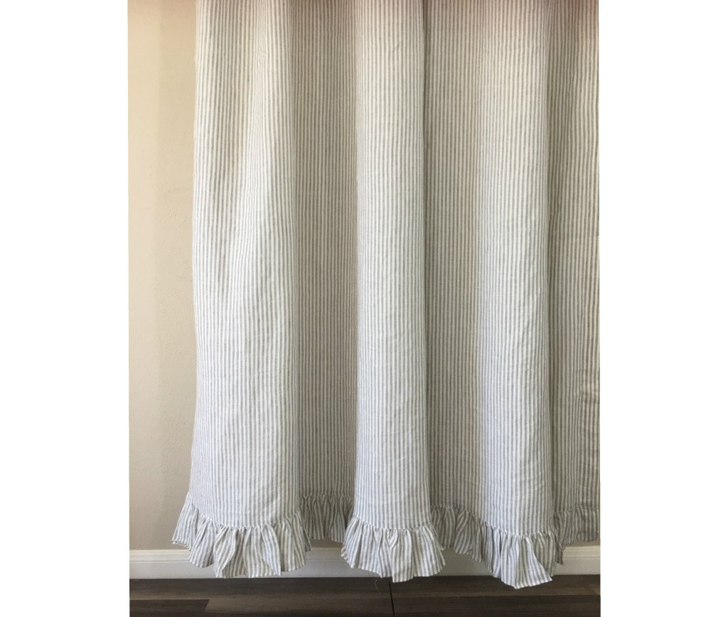 Grey and White Striped Shower curtain features ruffle hem, Natural Linen - Mildew-Free, 72x72, 72x85, 72x94. Custom Curtains, Bathroom Curtain, Bathroom Decor