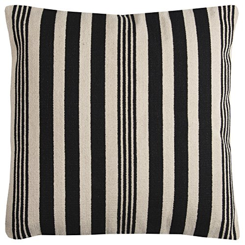 Rizzy Home T11753 Decorative Poly Filled Throw Pillow 24 x 24 Black Ivory