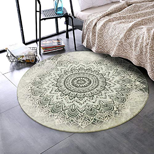 LEEVAN Round Wool Area Rug 4 ft Traditional Throw Runner Rug Non-Slip Backing Soft Wool Floor Carpet for Sofa Living Room Bedroom Modern Accent Home Decor