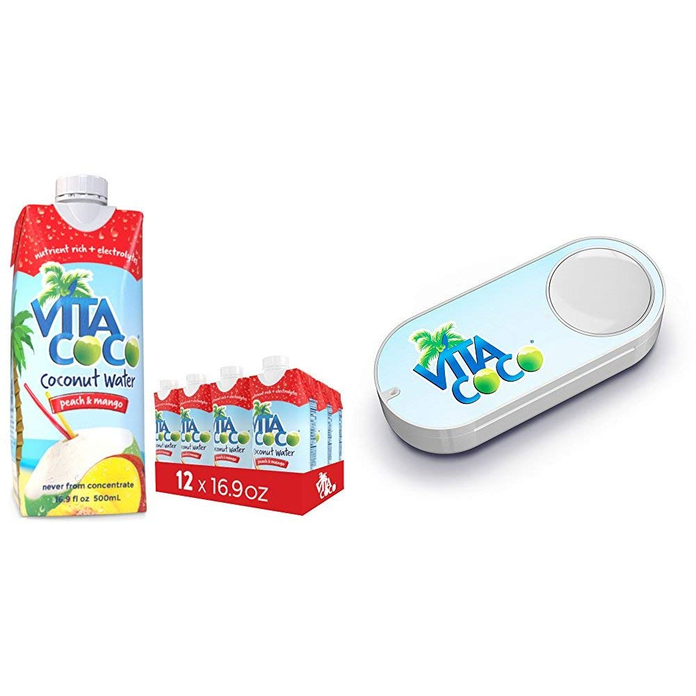 Vita Coco Coconut Water, Peach Mango - Naturally Hydrating Electrolyte Drink - Smart Alternative to Coffee, Soda, and Sports Drinks - Gluten Free - 16.9 Ounce (Pack of 12) + Vita Coco Dash Button
