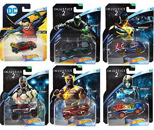 AYB DC Injustice Character Cars Collection 6 Hot Wheels / Batman / Cyborg / Superman /The Flash / Cyborg + Robin 2.0T