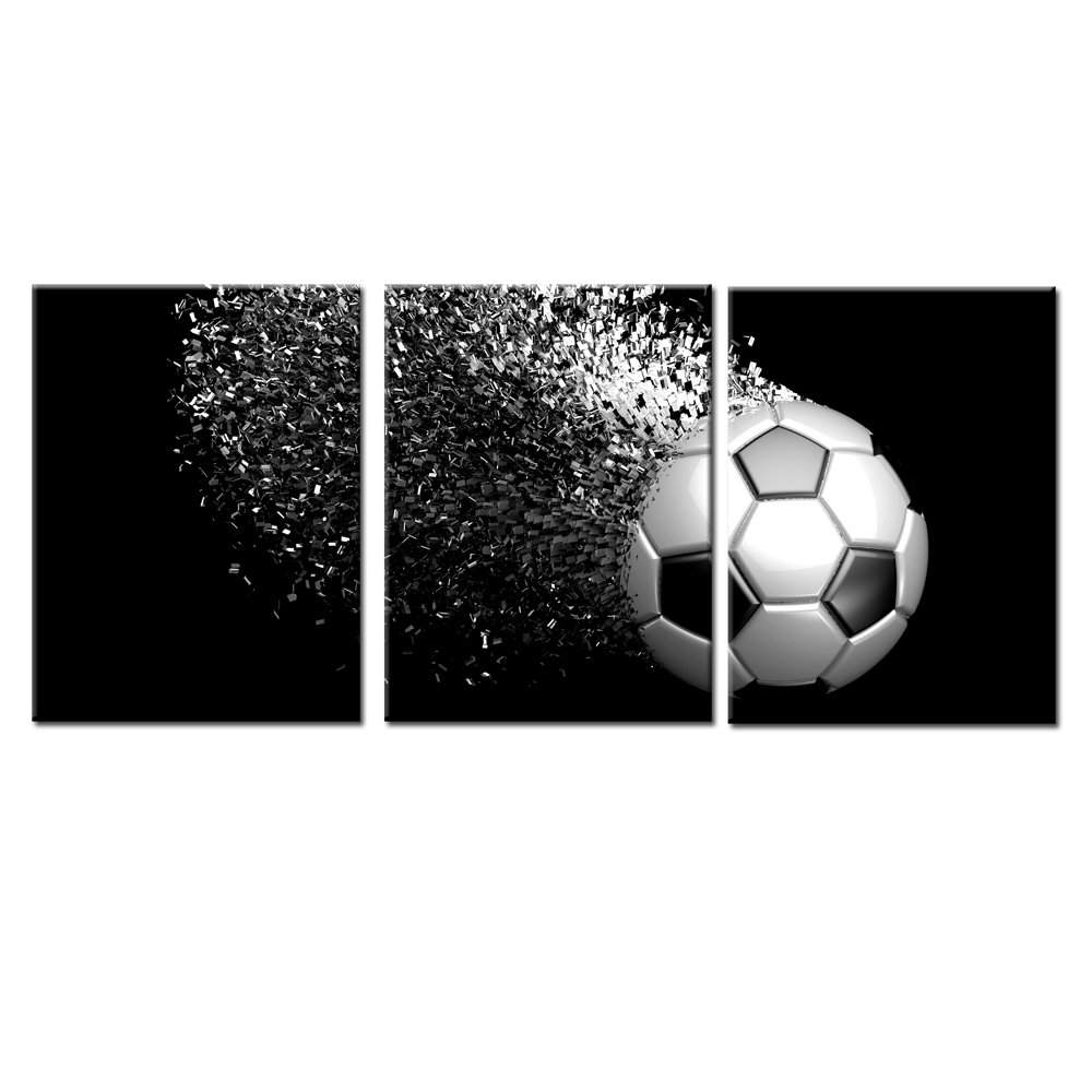 Black and white splash soccer football balls wall art posters prints on wrapped frames 3 pieces for boys kids gifts room decoration ready to hang