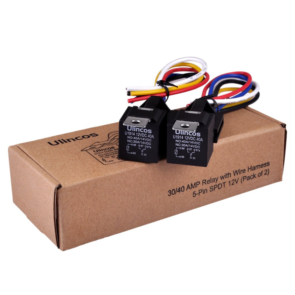 Ulincos Auto Relay U1914 With 14awg Wire Harness 12v Dc Wiring Pins 30 40a Spdt 5 Pin Pack Of 2 Automotive