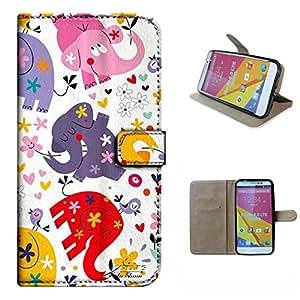 STUDIO 6.0 LTE Y650Q case, SoloShow(R) BLU STUDIO 6.0 LTE Y650Q 5.0 inch case Deluxe High Quality PU Leather Wallet Flip case, cute cartoon lucky elephant Pattern (cute)