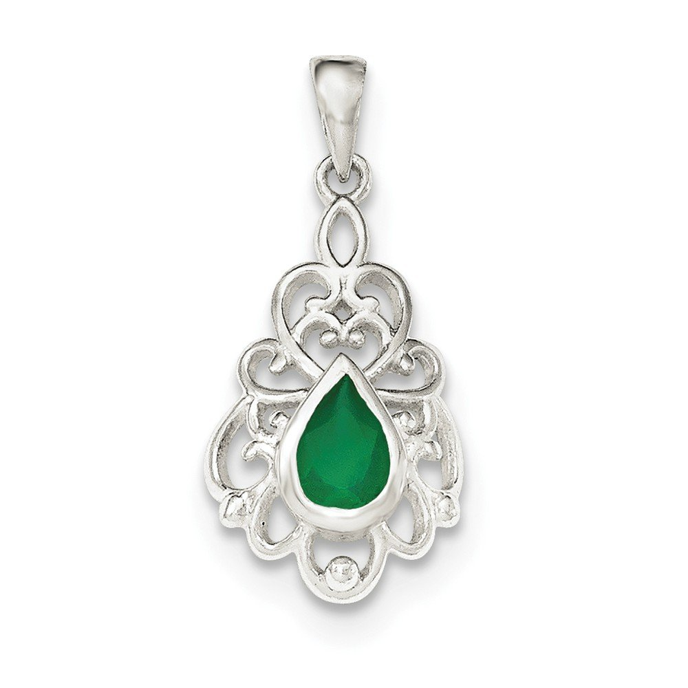 Sterling Silver Jewelry Drop /& Dangle Sets Solid 12 mm 24 mm Polished Green Agate Pendant Post Earrings Set