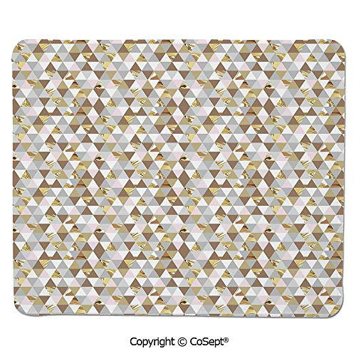 (Non-Slip Rubber Base Mousepad,Triangles with Marble Design Soft Color Palette Mosaic Pattern Abstract Modern Decorative,for Computer,Laptop,Home,Office & Travel(15.74