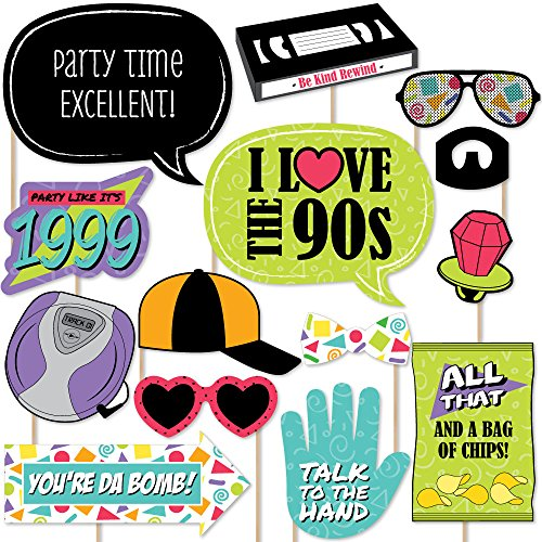 Big Dot of Happiness 90s Throwback - 1990s Party Photo Booth Props Kit - 20 Count