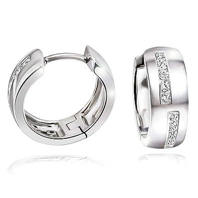 Goldmaid Women s 925 Sterling Silver Hoop Earrings with sparkling Zirconia  Stud Earrings 0ba5f083b