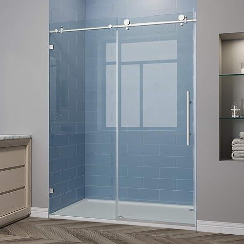 ELEGANT 60 x 79 Frameless Sliding Shower Doors, Bathroom Sliding Shower Glass Enclosure with 3 8 Clear Glass, Brushed Nickel
