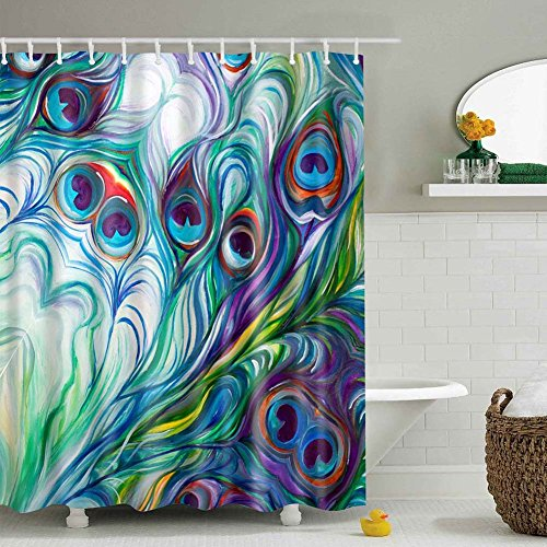 Messagee Flawless peacock feathers Watercolor painting Bathroom Shower Curtain,Shower Rings Included