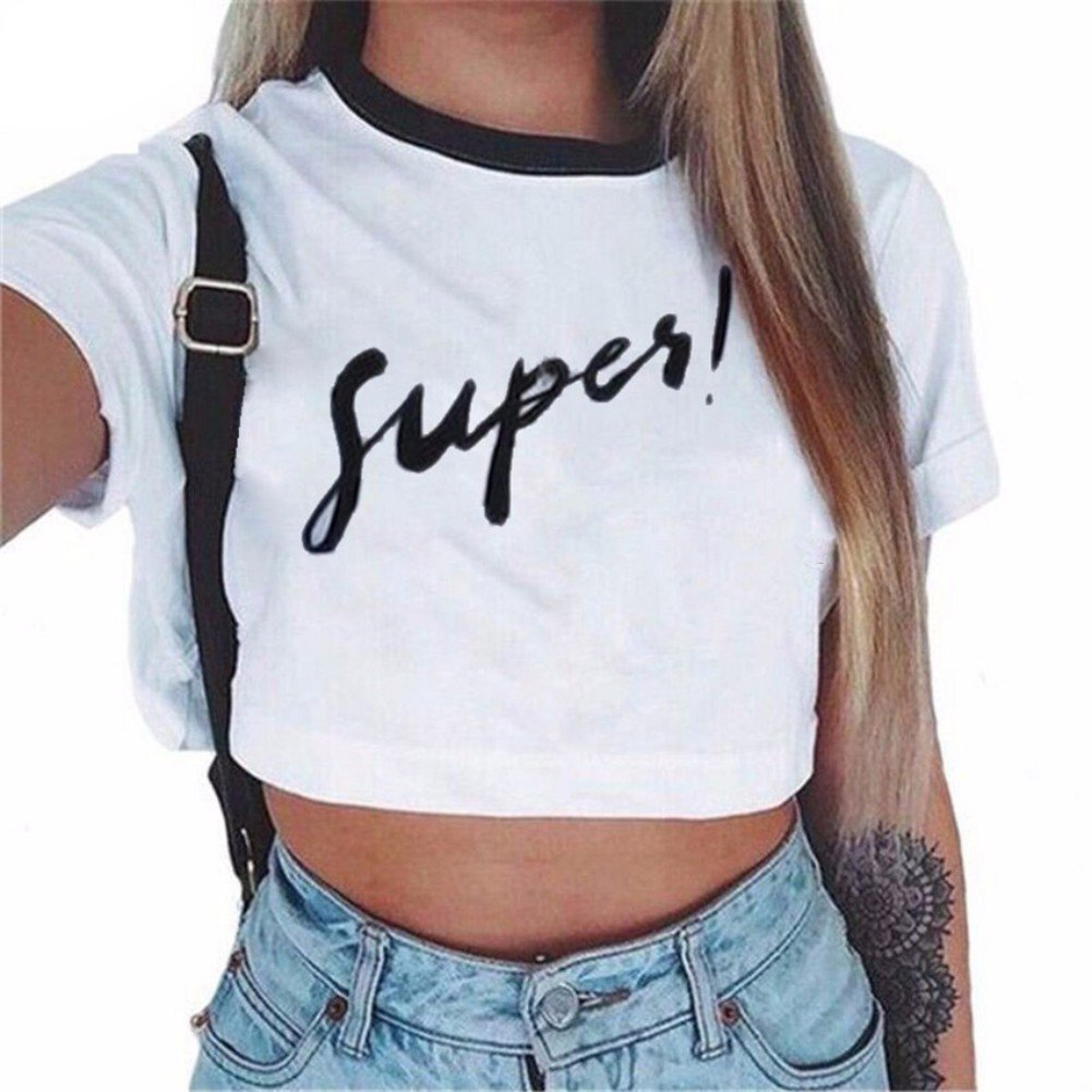 05b798197ddf4 ROPALIA Women s Short Sleeve Crop Top Letter Print Summer Loose Tshirt  (UK8 EU34 AsianM