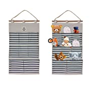 White & blue Striped hanging organizer Nautical theme Great for little stuff or underwear, Toys & stuffed animal holder wooden rod with anker print