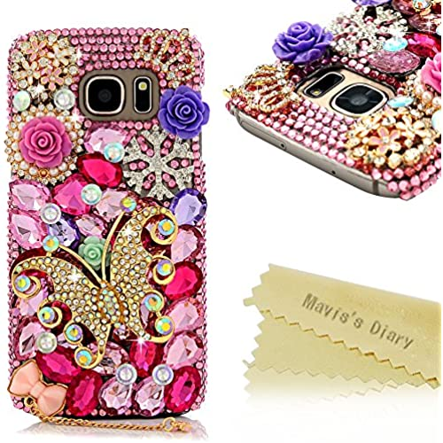 Galaxy S7 Case - Mavis's Diary Luxury 3D Handmade Bling Colorful Diamonds Butterfly with Cute Bow Pendant Glitter Pink Rhinestone Gems Pearls Flowers Clear Hard Sales