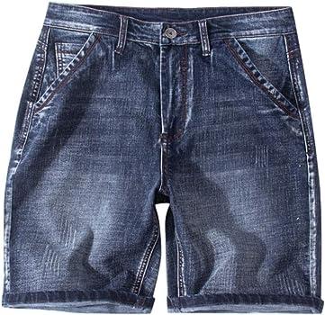 ZOELOVE Pantalones cortos Pantalones Cortos Vaquero Hombre Bermudas Cargo Mezclilla De Agujero De Los Casuales Verano Elástico Cómodo Jeans Retro ...