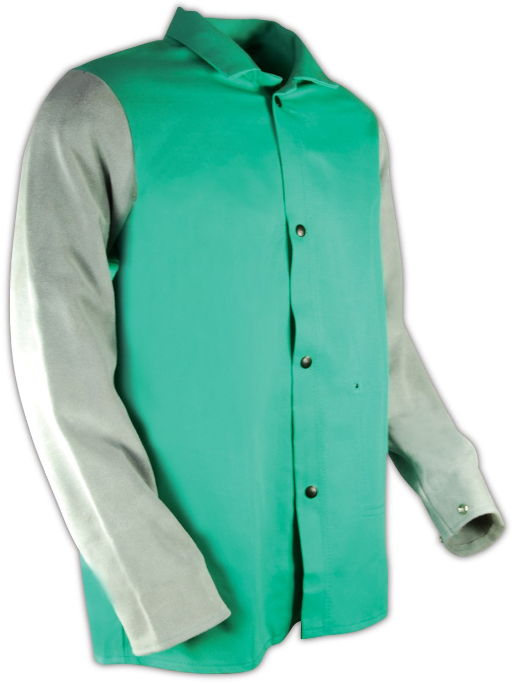 XL Green 30 Length Magid 1830LSXL SparkGuard Flame Resistant Cotton Standard Weight Jacket with Grey Leather Sleeves