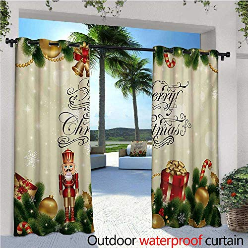 Christmas Outdoor- Free Standing Outdoor Privacy Curtain Noel Season Ornaments with Birch Branch Cute Ribbons Bells Candy Canes Art Image for Front Porch Covered Patio Gazebo Dock Beach Home W84 x L