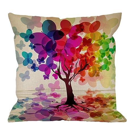 Funda de Almohada de árbol, Hoja Colorida de árbol Parece ...