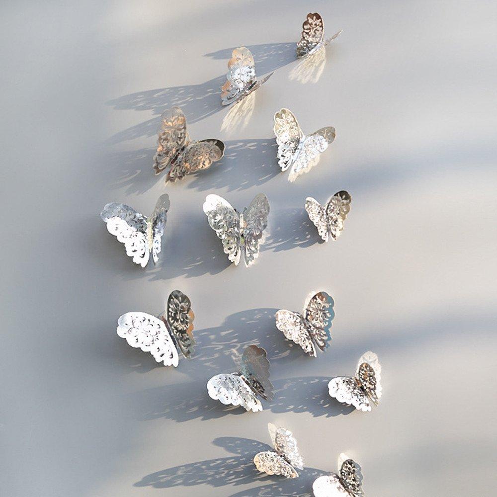 Pet1997 12 Pcs New 3D Hollow Butterfly Wall Stickers, Butterfly Fridge for Home Decoration - Gold & Silver - 3 Size: 12CM (4pcs), 10CM (4pcs), 8CM (4pcs) (B Silver)