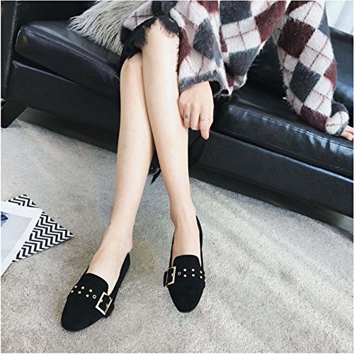 huateng New Women's Shoes Suede Square Buckle Flat Bottom Shoes Female Large Size Leisure Travel Work Shoes Leather Black 8qmWu6