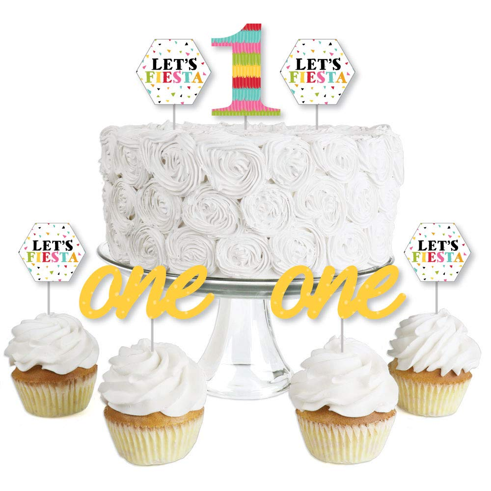 Dessert Cupcake Toppers Set of 24 1st Birthday Lets Fiesta Mexican Fiesta First Birthday Party Clear Treat Picks